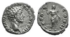 Ancient Coins - Marcus Aurelius (Caesar, 139-161). AR Denarius. Rome, 155-6. R/ Genius EXTREMELY FINE