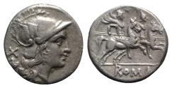 Ancient Coins - ROME REPUBLIC Anonymous, Rome, after 211 BC. AR Denarius. Head of Roma. R/ Dioscuri
