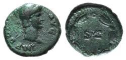 Ancient Coins - Domitian (81-96). Æ Quadrans. Rome, 81-2. Helmeted head of Minerva. R/ S • C