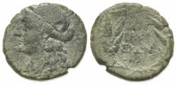 Ancient Coins - Sicily, Syracuse. Roman rule, after 212 BC. Æ 16mm. R/ Ethnic in three lines in wreath