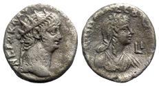 Ancient Coins - Nero and Poppaea (54-68). Egypt, Alexandria. BI Tetradrachm - year 10