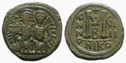 Ancient Coins - Justin II (565-578). Æ 40 Nummi - Nicomedia, year 9