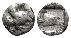 Ancient Coins - Asia Minor, Uncertain mint, c. 550-400 BC. AR Diobol - Winged lion / Ram head - VERY RARE
