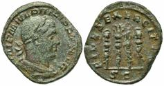 Ancient Coins - Philip I (244-249). Æ Sestertius. Rome, 244-9.  R/ Four standards