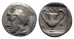 Ancient Coins - Lesbos, Methymna, c. 450-379 BC. AR Obol - Athena left / Kantharos