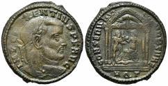 Ancient Coins - Maxentius (307-312). Æ Follis. Aquileia, 309-310. R/ Roma, in tetrastyle temple