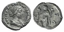 Ancient Coins - Lucilla. Augusta, AD 164-182. AR Denarius. Rome mint. Struck under Marcus Aurelius and Lucius Verus, AD 161-162. R/ VESTA