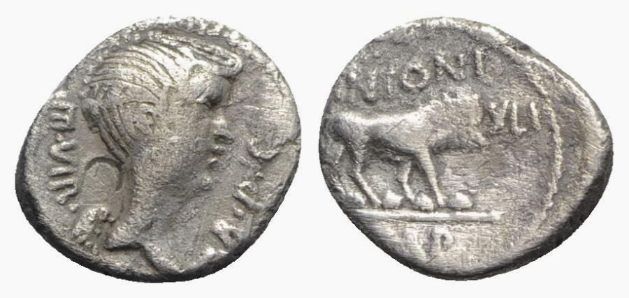 Ancient Coins - Mark Antony, Lugdunum, early 42 BC. AR Quinarius. Bust of Fulvia. R/ Lion