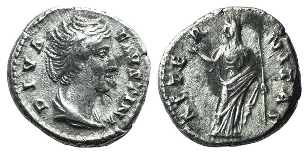 Ancient Coins - Diva Faustina Senior (died 140/1). AR Denarius. Rome, c. 146-161.  R/ Aeternitas (or Juno)