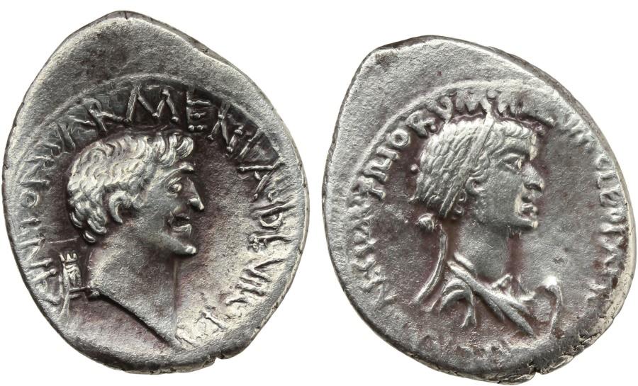 Ancient Coins - Cleopatra and Mark Anthony. AR Denarius, 32 BC, mint moving with Mark Antony. VERY RARE