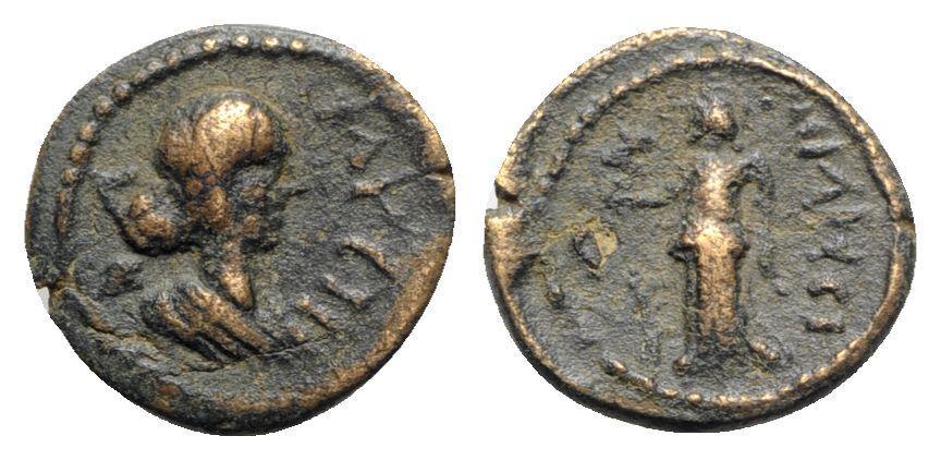 Ancient Coins - Faustina Junior (Augusta, 147-175). Ionia, Miletos. Æ - R/ Artemis