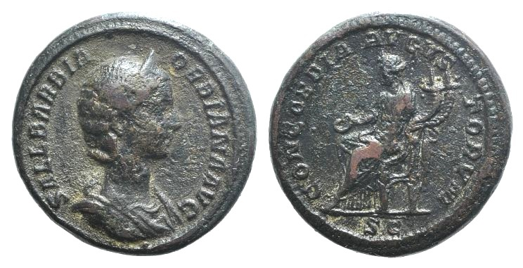 Ancient Coins - Orbiana (Augusta, 225-227). AE As. Special marriage emission of Alexander. Rome, 225. R/ Concordia