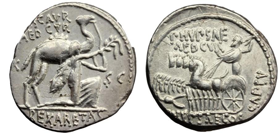 Ancient Coins - ROME REPUBLIC  M. Aemilius Scaurus and Pub. Plautius Hypsaeus. AR Denarius, 58 BC. SUPERB EXTREMELY FINE