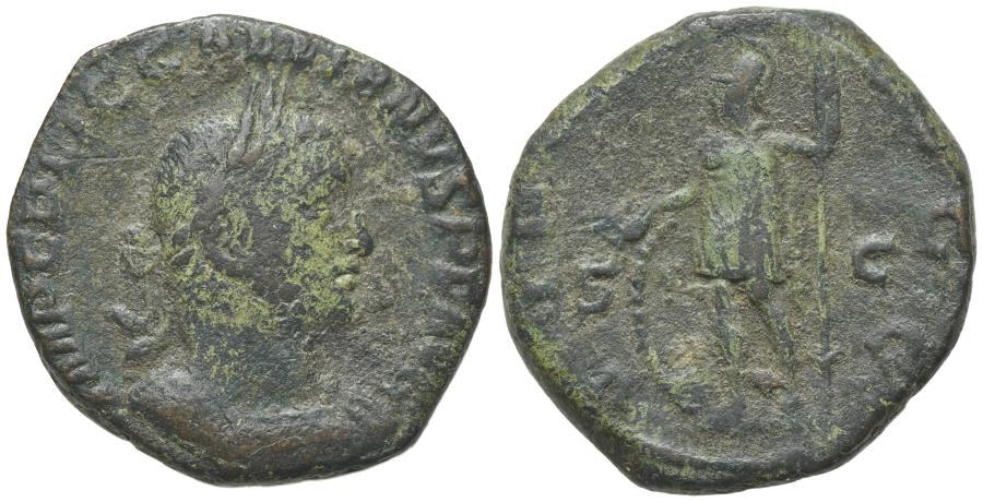 Ancient Coins - Gallienus (253-268). AE Sestertius. Rome, c. 253-4. R/ VIRTUS