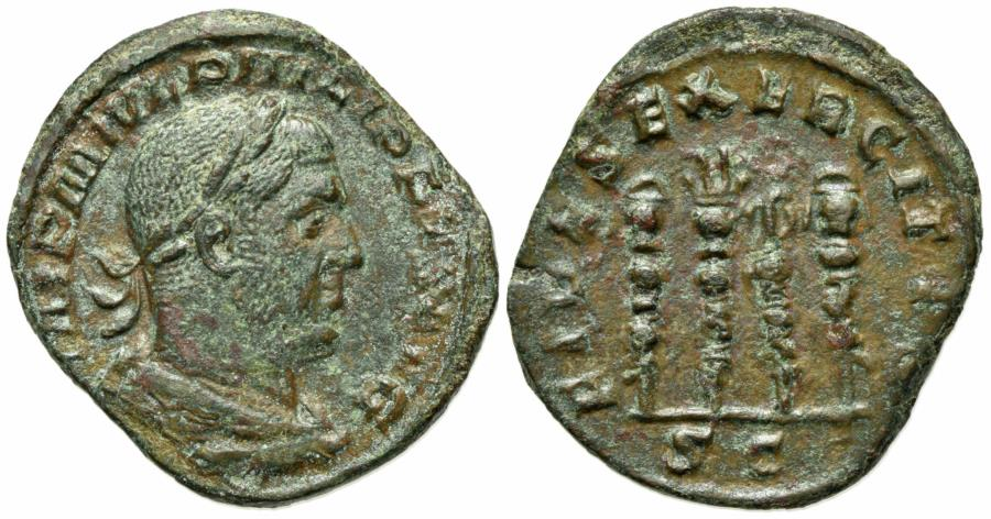 Ancient Coins - Philip I (244-249). Æ Sestertius. Rome, 244-9.  R/ Four standards