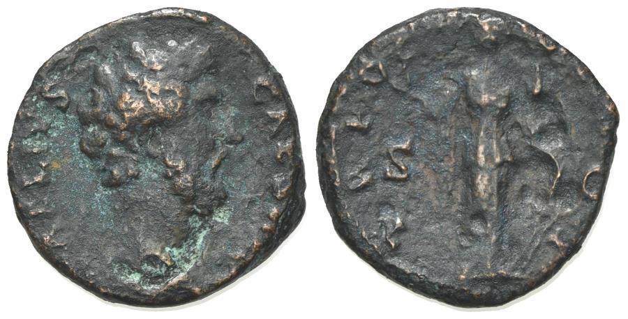 Ancient Coins - Aelius (Caesar, 136-138). Æ As. Rome, AD 137.  R/ Fortuna-Spes standing