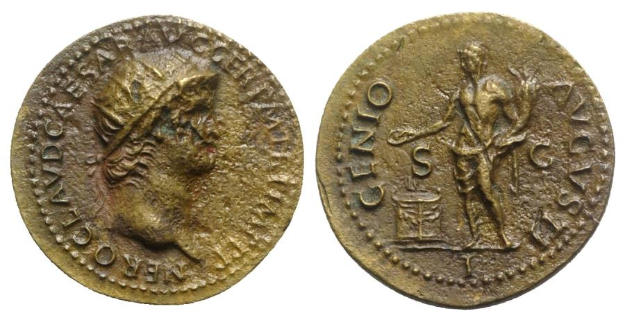 Ancient Coins - Nero (54-68). Æ As. Rome, AD 64.  R/ Genius