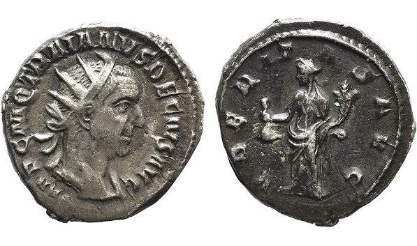 Ancient Coins - Trajan Decius (249-251). AR Antoninianus. Rome, 250. R/ Uberitas