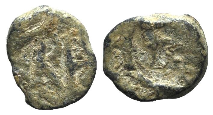 Ancient Coins - LIBIUS SEVERUS (under Ricimer) 461-465 AD. PB Tesserae.  Monogram of Ricimer / Dog left?.