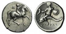 Ancient Coins - ITALY, CALABRIA, Tarentum. Circa 280-272 BC. AR Nomos