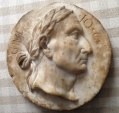 Ancient Coins - Julius Caesar. 49-44 BC. Marble portrait XVII cent AD (160mm) Nice style and patina