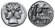 Ancient Coins - ROME REPUBLIC  Anonymous. Circa 225-214 BC. AR Didrachm – Quadrigatus NICE !!