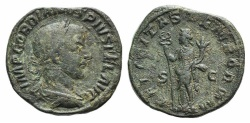 Ancient Coins - Gordian III. AD 238-244. Æ Sestertius. Rome mint, 1st officina. 12th emission, AD 243. R/ FELICITAS