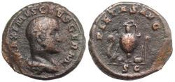 Ancient Coins - Maximus. Caesar, AD 235/6-238. Æ As R/ R/ PIETAS AVG, priestly emblems: lituus, knife, patera, jug, simpulum, aspergillum RARE