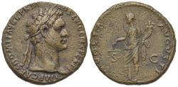 Ancient Coins - Domitian (81-96). Æ As. Rome, AD 87. R/ MONETA