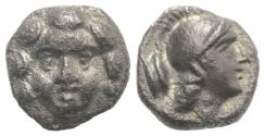Ancient Coins - Pisidia, Selge, c. 350-300 BC. AR Obol. Facing gorgoneion.
