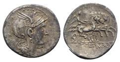 Ancient Coins - ROME REPUBLIC Appius Claudius Pulcher, T. Manlius Mancius and Q. Urbinius, Rome, 111-110 BC. AR Denarius. R/ Victory driving triga
