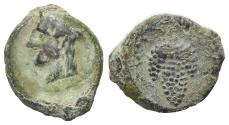 Ancient Coins - Sicily, Tauromenion, 2nd century BC. Æ 15mm. Head of Hera R/ Bunch of grapes