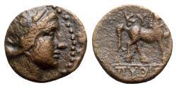 Ancient Coins - Aeolis, Kyme, c. 250-200 BC. Æ - Pythion, magistrate