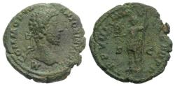 Ancient Coins - COMMODUS. 177-192 AD. Æ As. Rome mint. Struck 183 AD. R/ VIRTUS