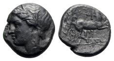 Ancient Coins - Sicily, Syracuse. Hiketas II (287-278 BC). Æ 17mm, c. 287-283.  R/ Charioteer driving biga