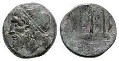 Ancient Coins - Sicily, Syracuse. Hieron II (275-215 BC). Æ - Poseidon / Trident