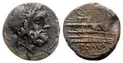 Ancient Coins - Roman Republic - Q. Caecilius Metellus, Rome(?), 130 BC. Æ Semis