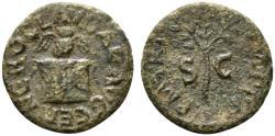 Ancient Coins - Nero (54-68). Æ Quadrans. Rome, c. AD 64. Owl on garlanded altar. R/ Laurel-branch