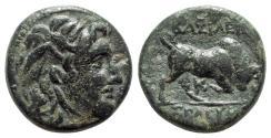 Ancient Coins - Seleukid Kings, Seleukos I (312-281 BC). Æ - Medusa / Bull