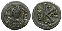 Ancient Coins - Justinian I (527-565). Æ 20 Nummi - Constantinople, year 14