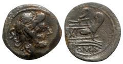 Ancient Coins - Roman Republic - Anonymous, Rome, 91 BC. Æ Semis