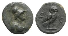Ancient Coins - Anonymous, time of Domitian to Antoninus Pius, 81-161. Æ Quadrans. Rome. Bust of Minerva R/ Owl