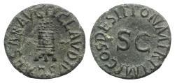 Ancient Coins - Claudius (41-54). Æ Quadrans - Modius / SC