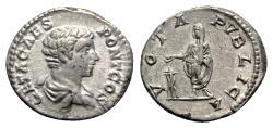 Ancient Coins - Geta (Caesar, 198-209). AR Denarius - Rome - R/ Emperor sacrificing