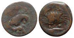 Ancient Coins - Sicily, Akragas, c. 415-406 BC. Æ Tetras – Trionkion