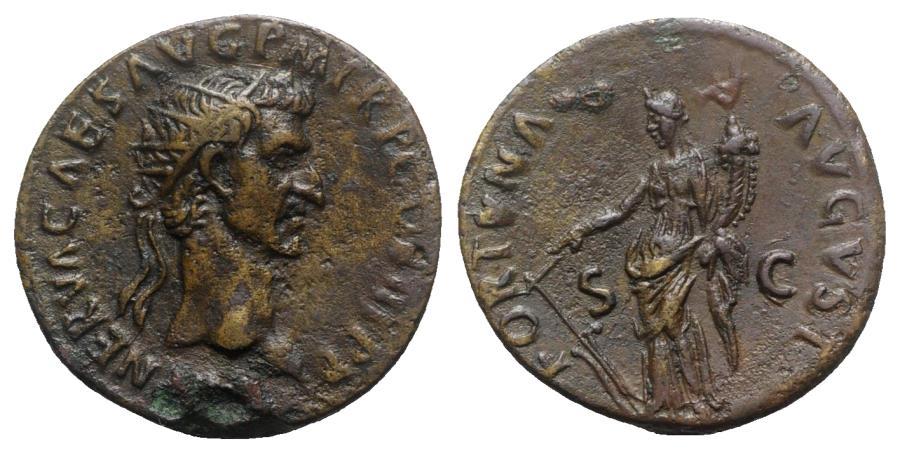 Ancient Coins - Nerva (96-98). Æ As - Rome - R/ Fortuna