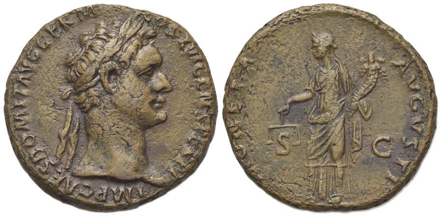 Ancient Coins - Domitian (81-96). Æ As. Rome, AD 87. R/ MONETA