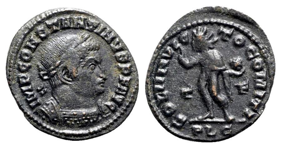 Ancient Coins - Constantine I (307/310-337). Æ Follis - Lugdunum - R/ Sol