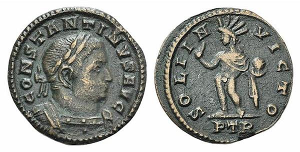 Ancient Coins - Constantine I (307/310-337). Æ Half Follis. Treveri, 310-311. R/ Sol RARE
