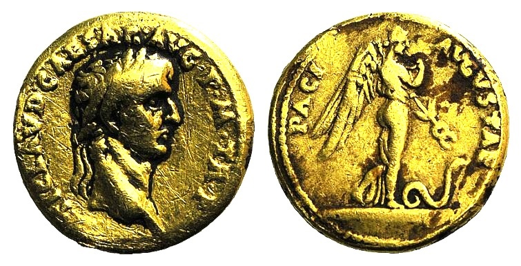 Ancient Coins - Claudius (41-54). GOLD Aureus. Rome, 44/5. R/ PAX NEMESIS